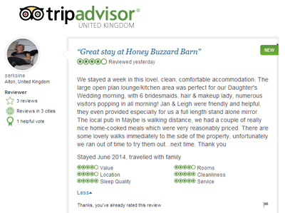 Tripadvisor Top Review Honey Buzzard Barn